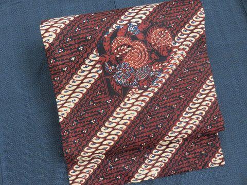 塩沢紬の着物とバティック(ジャワ更紗)の帯