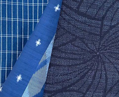 ブルーのひとえの織物3点