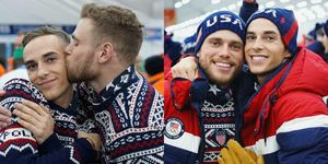 Gus Kenworthy and Adam Rippon at the 2018 Winter Olympics Opening Ceremonies