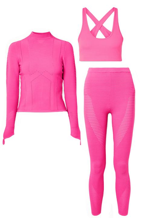 Clothing, Pink, Sleeve, Magenta, Crop top, Outerwear, Neck, Hood, Trousers, Hoodie,