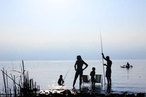 People in nature, Water, Fisherman, Sky, Silhouette, Sea, Fishing, Shore, Ocean, Standing,