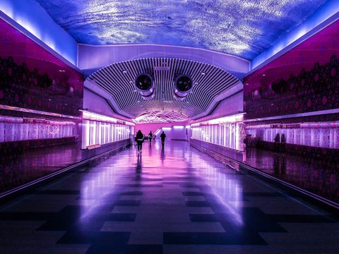 Purple, Violet, Blue, Light, Architecture, Symmetry, Lighting, Building, Ceiling, Sky,