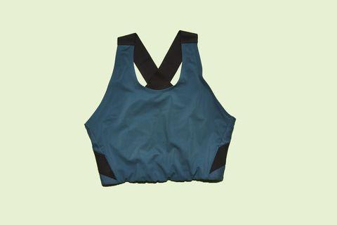 Clothing, Blue, Outerwear, One-piece garment, Sleeveless shirt, Sportswear, Vest, Undergarment, Sports bra,