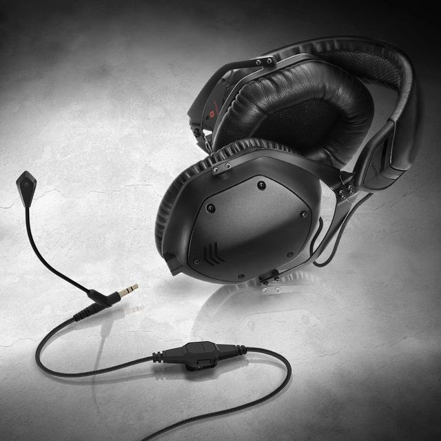 black headphones with mic attachment from v moda