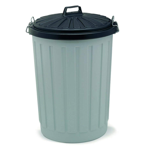 Addis Outdoor Round Dustbin with Lockable Lid, Grey/Black, 90 Litre