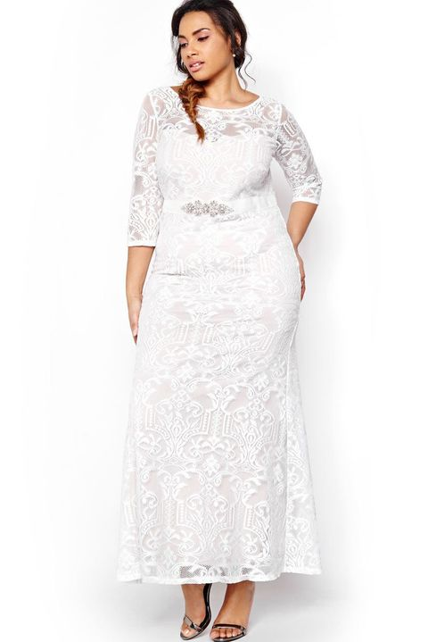 Addition elle launches affordable wedding gowns for sizes 14 to 24 belted lace wedding dress addition elle 240 additionelle junglespirit Image collections