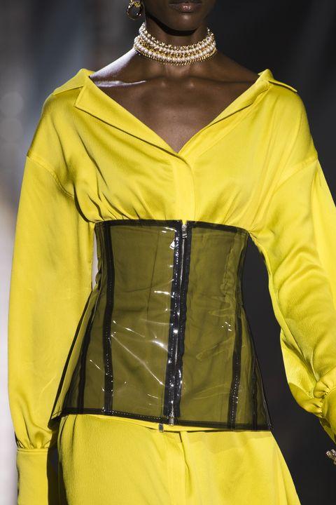 Fashion, Yellow, Clothing, Haute couture, Fashion model, Fashion design, Fashion show, Runway, Dress, Outerwear,