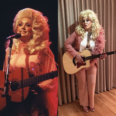 dolly parton in pink outfit with a guitar sliced with adele dressed in pink suit and blonde wig as dolly parton