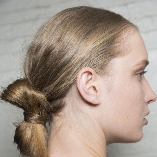 Hair, Hairstyle, Neck, Face, Chin, Ear, Shoulder, Beauty, Chignon, Skin,