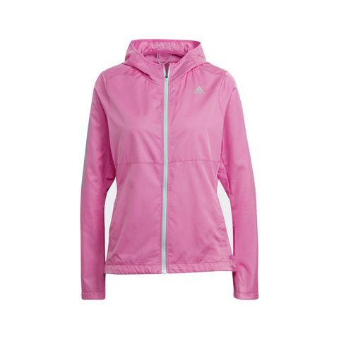 adidas own the run hooded windjacket screaming pink roze windjas jacket jas jack