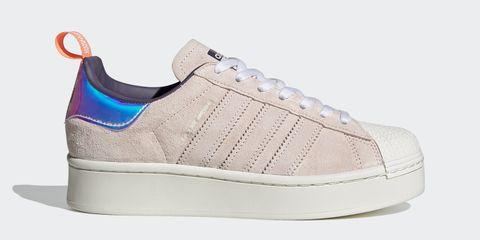 adidas originals superstar麂皮粉色球鞋