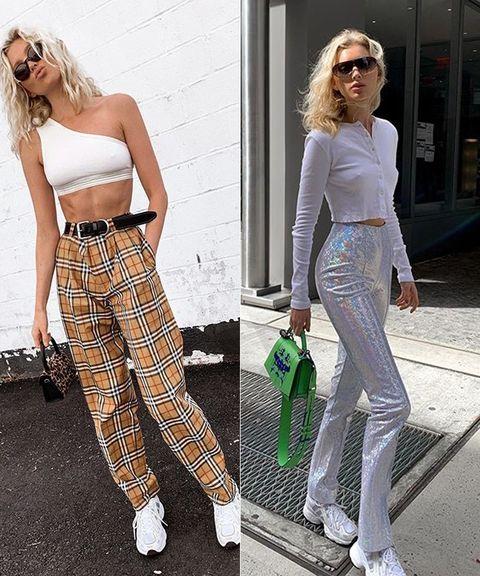 Clothing, White, Street fashion, Waist, Fashion, Jeans, Footwear, Trousers, Leg, Crop top,