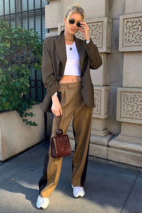 Clothing, Street fashion, Fashion, Suit, Brown, Blazer, Snapshot, Footwear, Shoe, Outerwear,