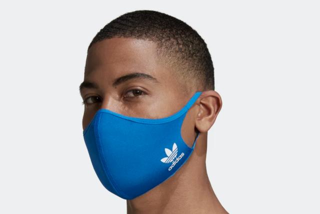 a blue adidas face mask