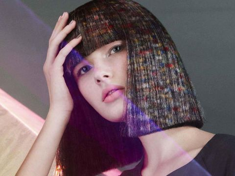 Hair, Face, Beauty, Purple, Lip, Hairstyle, Skin, Head, Nose, Chin,