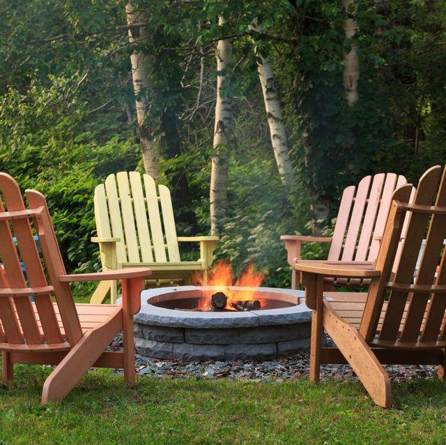 adirondack chairs around bonfire