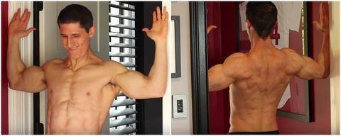 Muscle, Shoulder, Barechested, Arm, Bodybuilding, Bodybuilder, Chest, Joint, Human body, Abdomen,