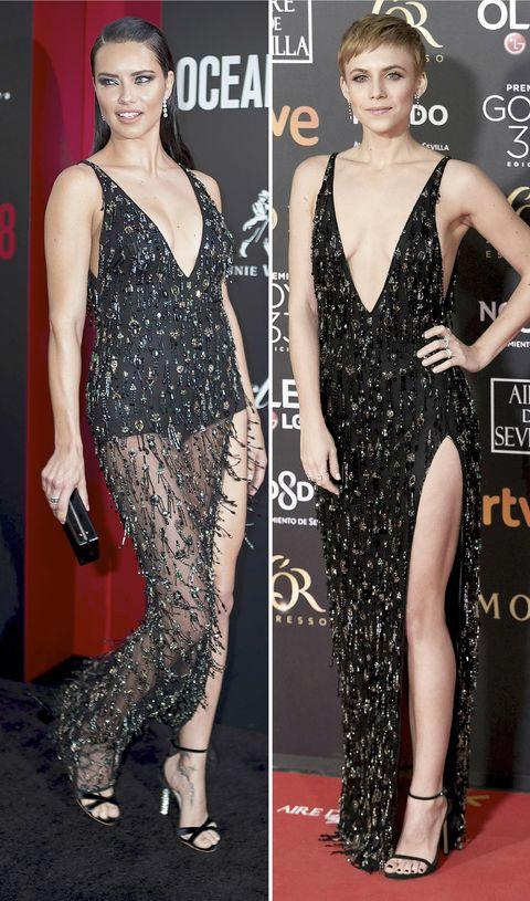 Adriana Lima y Aura Garrido con el mismo vestido