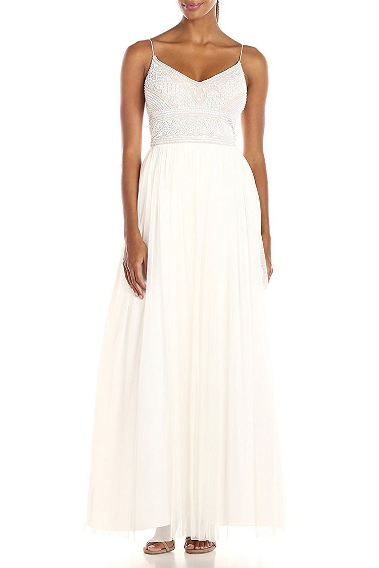 adrianna papell beaded white wedding dress