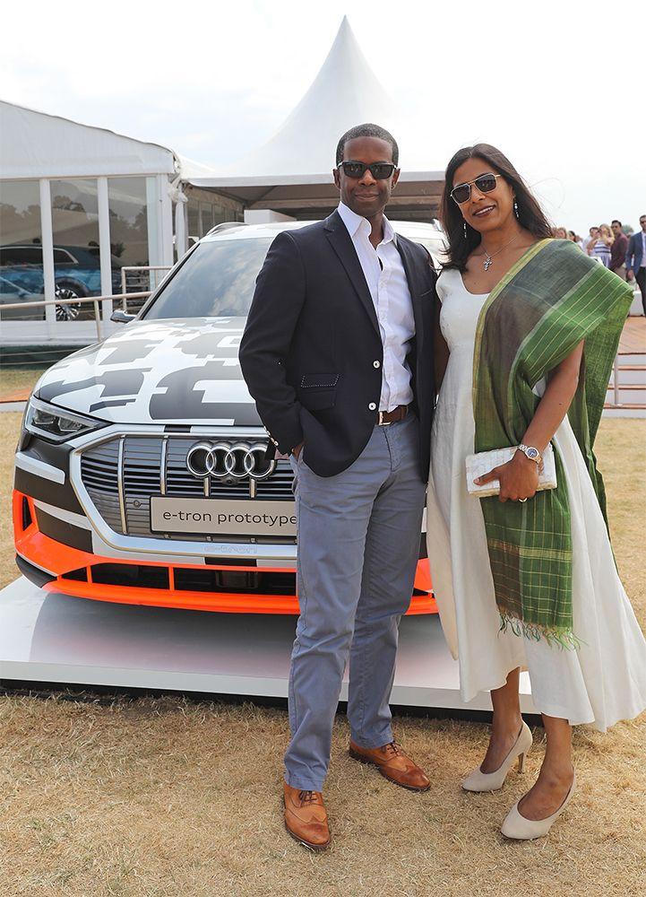 Adrian Lester and Lolita Chakrabarti at the Audi Polo Challenge 2018