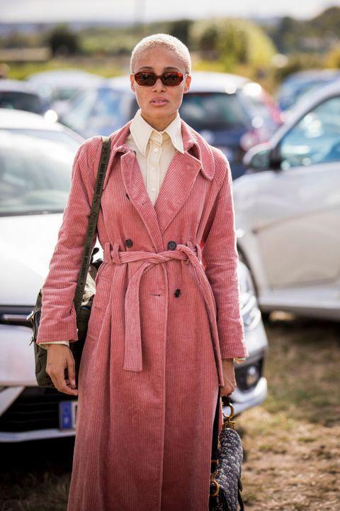 Clothing, Trench coat, Street fashion, Coat, Fashion, Pink, Outerwear, Overcoat, Eyewear, Sunglasses,