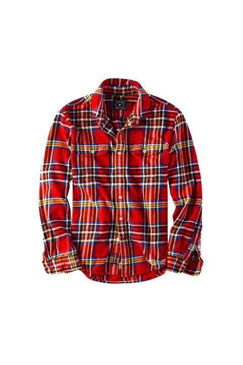 Clothing, Plaid, Tartan, Dress shirt, Product, Collar, Sleeve, Pattern, Textile, Red,