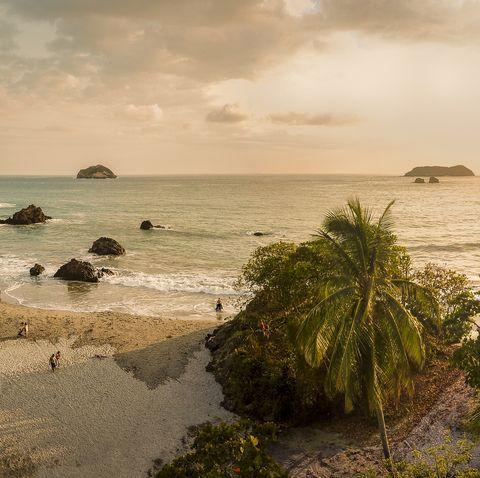 aerial   beach at corcovado national park, costa rica
