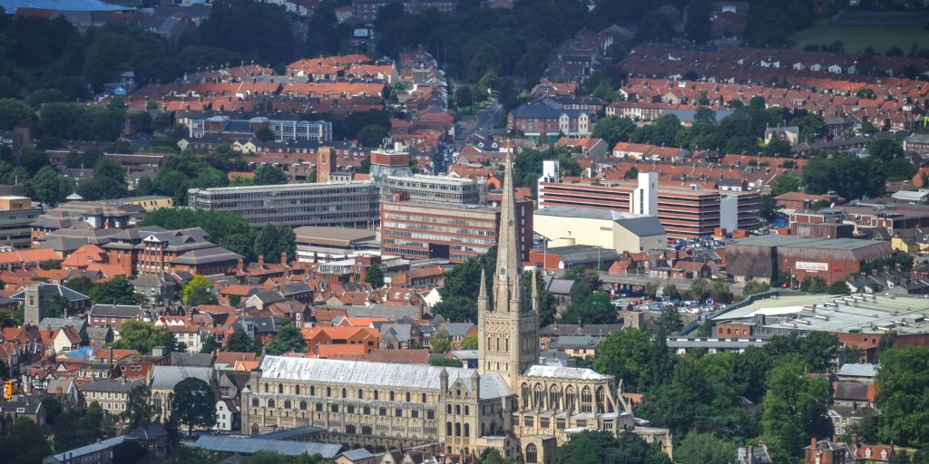 Aerial photograph of the grade 1 listed Norwich Cathedral