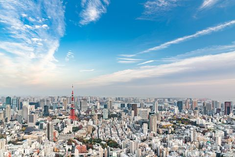 Aerial Tokyo city view with Tokyo tower, Minato, Tokyo, Japan. (Day)