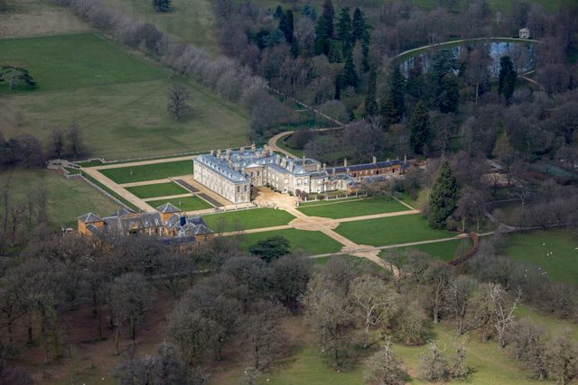 aerial view of althorp, this grade 1 listed stately home was the home of lady diana spencer who later became the princess of wales
