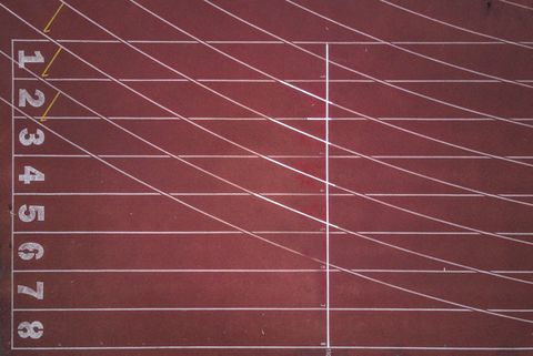 Aerial view of an empty track and field stadium