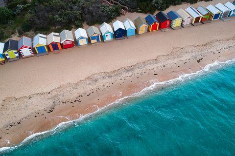 Aerial view of beach huts on Brighton Beach, Melbourne, Victoria, Australia