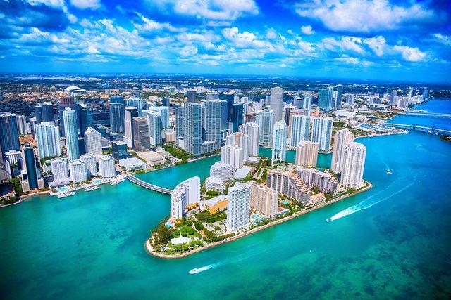 aerial view of downtown miami florida