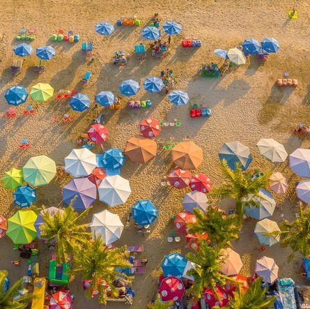Aerial view of  Kuta beach, Bali, Indonesia