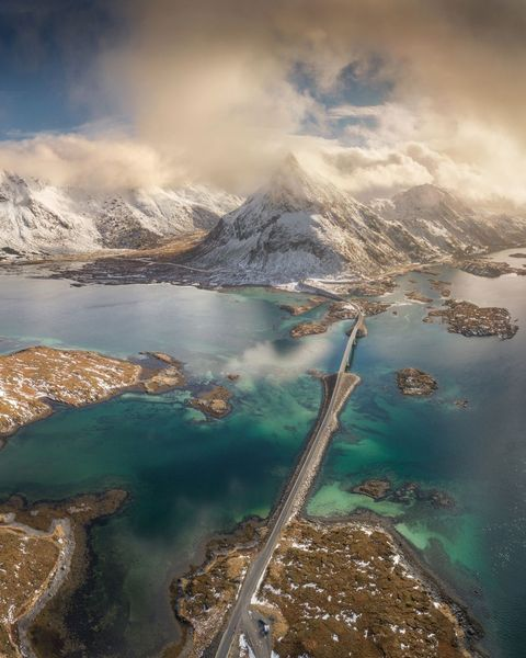 Aerial View of Lofoten Islands in Norway.