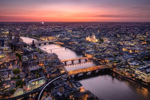 Aerial View of London Cityscape with River Thames at Twilight