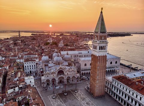aerial view of san marco square at sunrise