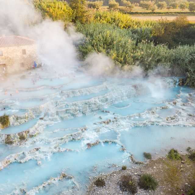 aerial view of saturnia's spring