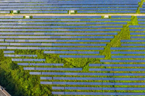 Aerial view of solar power station and solar energy panels