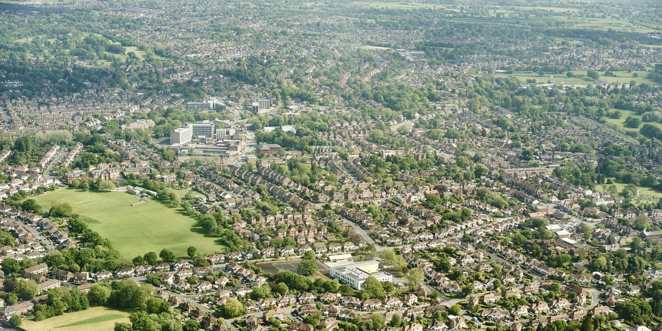 Aerial view of suburban housing , England, UK