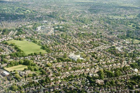 Aerial view of suburban housing , England, UK
