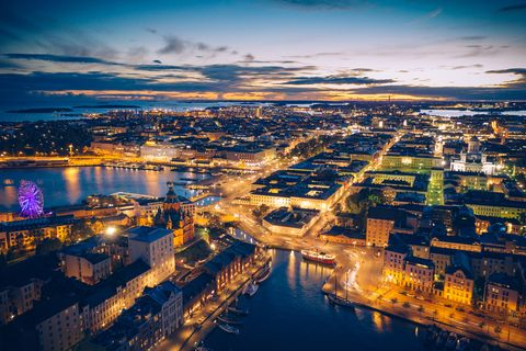 Aerial view of the old town of Helsinki by night