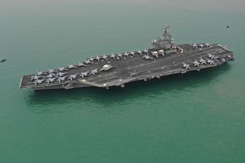 USS Ronald Reagan Leaves Victoria Harbour In Hong Kong