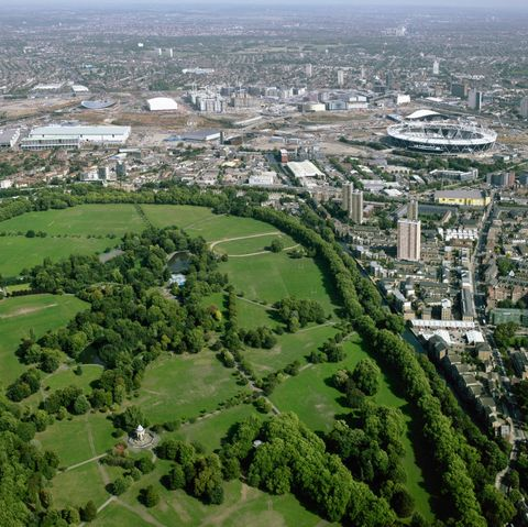 aerial view of victoria park and the olympic site, london, uk
