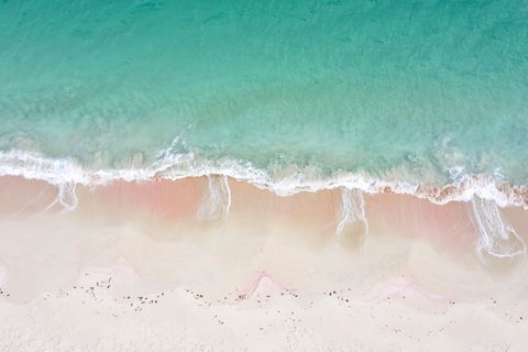 Aerial view of waves crashing on Pink Sand Beach, Caribbean