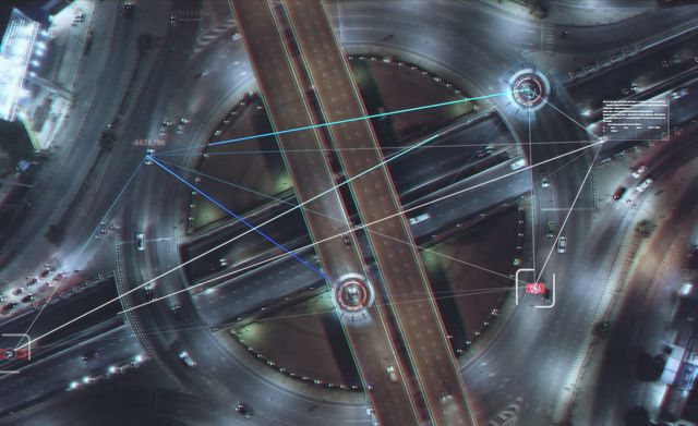 aerial view road traffic with technology hud multi path visual tracker target,connection technology
