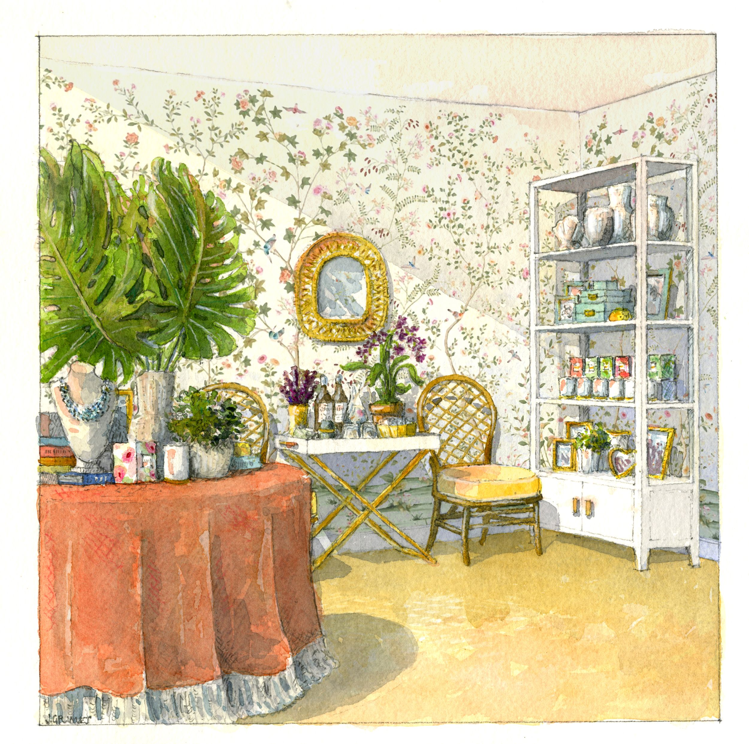 A Sketch Of The Interior Of Aerin Lauderu0027s New Palm Beach Shop.