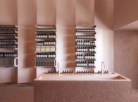 Interior design, Property, Room, Architecture, Brown, Wall, Building, Material property, Tile, Shelf,