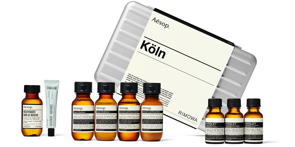 The Aesop x Rimowa Köln Travel Kit