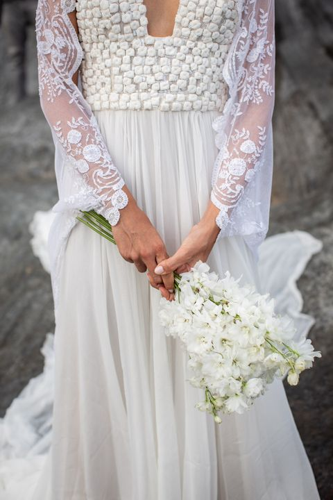 Wedding dress, Gown, Dress, Clothing, White, Bride, Photograph, Bridal clothing, Bridal party dress, Bouquet,